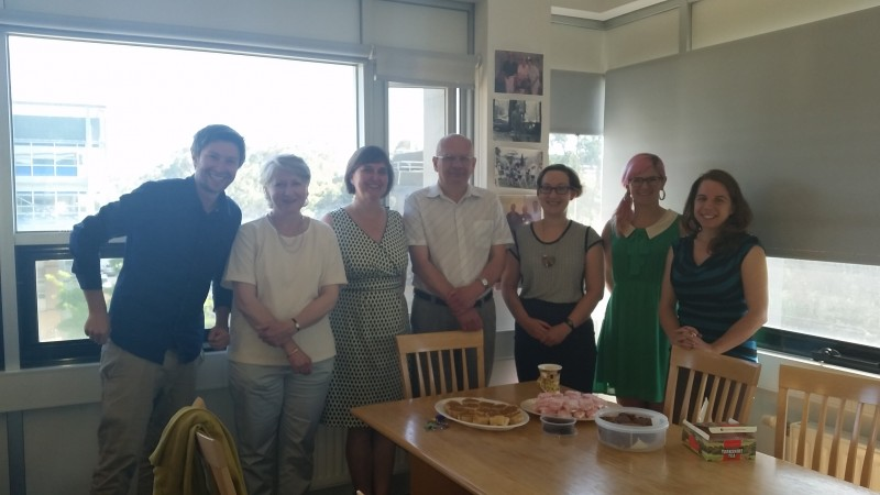 Jack Nunn, Sophie Hill, Sue Cole, John Kis-Rigo, Annie Synnot, Jessie Kaufman and Dianne Lowe sharing a 'trans-national' morning tea of Yorkshire parkin, pumpkin pies and jelly lamingtons.
